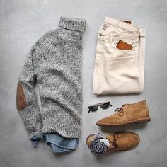 Winter wonderland Sweater: Alpaca blend Denim: RRL Chukkas/Socks/Shirt: Glasses: Wallet: by Men's Fall Winter Fashion. Mode Outfits, Casual Outfits, Men Casual, Fashion Outfits, Mens Fall Outfits, Smart Casual, Casual Fall, Gq Style, Mode Style