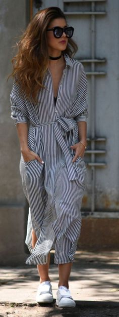 #spring #summer #street #style #outfitideas | Maxi Stripe Shirt Dress | Pam Allier W/o waist belt for short waists