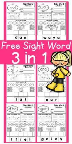 Free Full Version Kindergarten Posters /Fine motor skills/ Hand Writing Practice/ Kindergarten Reading/Free Sight Word / Sight Word Dolch Pre-Primer/Primer /First Grade/ Coloring / Printables / No Pre Pre Primer Sight Words, First Grade Sight Words, Dolch Sight Words, Sight Word Practice, Sight Words Printables, Sight Word Worksheets, Sight Word Activities, Literacy Worksheets, Lkg Worksheets