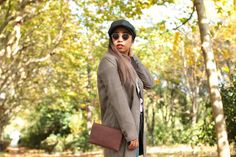 Plaid Coat in Autumn/ Fall with Beret Hat