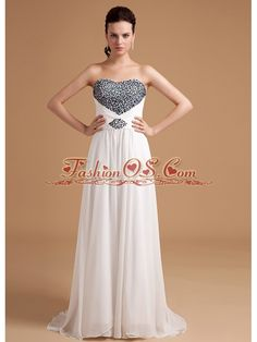 Beaded Empire Prom Dress Brush Train Chiffon- $145.67  www.fashionos.com