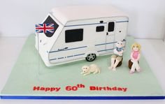 Caravan Cake with fondant people and a cute fondant dog! - Sweetie Darling Cakes
