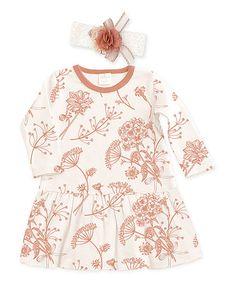Love this Clay Autumn Blossoms Drop-Waist Dress & Floral Headband - Infant on #zulily! #zulilyfinds