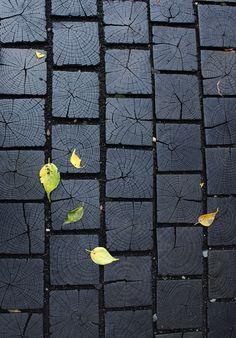 Shou-sugi-ban endgrain exterior walk material