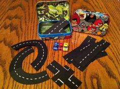 Toy Car Kits in an Angry Bird Duck Taped Mint Tin by SarahsTins