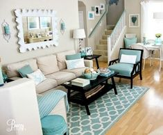 12 Small Coastal Beach Theme Living Room Ideas with Great Style: #livingroomideasturquoise