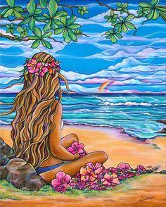 """""""Moani""""-a gentle breeze brings inspiration – Colleen Wilcox Art Mode Poster, Polynesian Art, Hawaiian Art, Mermaid Art, Mermaid Paintings, Mermaid Tails, Graffiti, Tropical Art, Hippie Art"""