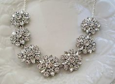Wedding Statement Necklace, Silver , crystal, Rhinestone Bridal Jewelry, Bridal Jewelry, Statement Jewelry, Crystal Bouquet Collection
