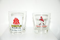 Set of 2 Vintage Antique Mid Century John Haig Dimple Brand and Johnnie Walker Whiskey Glasses  with Logo