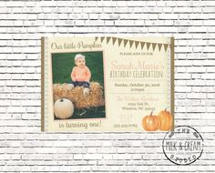 Photo birthday invitation pumpkin shabby chic first birthday digital