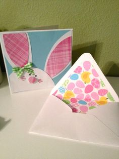 handmade Easter Bunny Card ... ears and headtop .... Easter Egg lined envelope ... cute card!!
