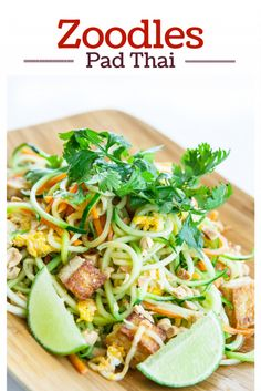 Pad Thai Zoodles Recipe! Make Zucchini Noodles - Thai style with chopped peanuts, a squeeze of lime and crispy tofu | steamykitchen.com