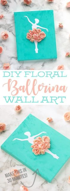 This DIY Ballerina Wall Art is a simple and inexpensive craft you can make to decorate a little girls room | DIY sign ideas | Ballerina Craft Ideas | Girl Bedroom DIY Decorations
