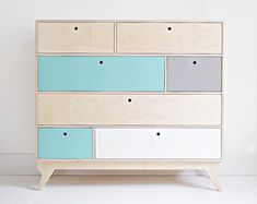 KLOPS customized handmade plywood bureau / chest of drawers / vintage & scandinavian design // original gift / kids interior Plywood Bookcase, Plywood Furniture, Furniture Plans, Furniture Making, 1 Plywood, Furniture Dolly, Furniture Stores, Wardrobe Furniture, Furniture Assembly