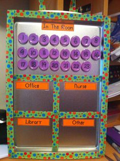 Classroom Management- Where Are You?… Student Tracking & Classroom Management Idea This would be great for lunch count/attendance! 2nd Grade Classroom, Classroom Behavior, Kindergarten Classroom, School Classroom, Classroom Attendance, Classroom Discipline, Classroom Routines, Kindergarten Readiness, Classroom Organisation