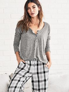 The Dreamer Henley Pajama The Dreamer Flannel Collection medium heather grey / grey buffalo plaid 54.5