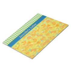 Shop Daffodils and Green Gingham Notepad created by poshandpainterly.