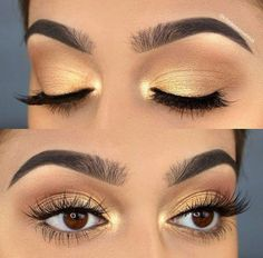 Goldener und hellbrauner Lidschatten-Make-up-Look - Spitze Golden and light brown eyeshadow makeup l Makeup Trends, Eye Makeup Tips, Smokey Eye Makeup, Skin Makeup, Eyeshadow Makeup, Eyeshadows, Makeup Ideas, Makeup Set, Gel Eyeliner
