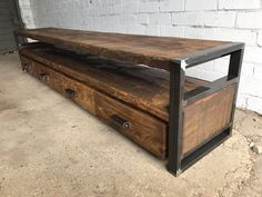 Industrial media console / End table / Oak TV table / Industrial TV table / Industrial table / Industrial furniture / Rustic furniture - UNIQUE FURNITURE Rustic Industrial Furniture, Wood Furniture, Rustic Tv Console, Industrial Tv Stand, Console Furniture, Retro Furniture, Office Furniture, Table Indus, Comedor Shabby Chic