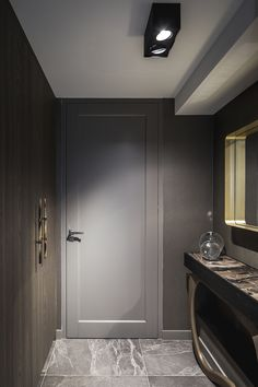Smart lotis box lighting in a private residence. Picture by Peter Baas - Designed by Linda Lagrand Contemporary Interior Doors, Interior Door Styles, Black Interior Doors, Interior Trim, Home Interior Design, Bedroom Door Design, Bedroom Doors, Grey Kitchen Designs, Indoor Doors