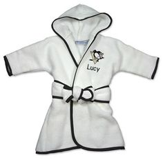 Officially licensed personalized Pittsburgh Penguins Robe will keep your little NHL fan snuggly warm.  Personalized with baby's name and the Penguins logo.