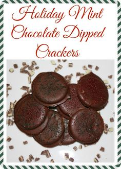 Holiday Mint Chocolate Dipped Crackers