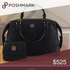 TORY BURCH - MINI BRYANT w/ matching wallet! This is a AMAZING SET of a CROSSBODY or handbag & Wallet!! The handbag is called the MINI BRYANT SATCHEL in Medium. This Tory Burch bag is amazing is it part quilter and part just pebble leather! There is a strap that is ADJUSTABLE and REMOVABLE . This TB is very roomy and has a zippered area and other slots to put things in like your phone! The Matching Wallet looks exactly the same! It is part quilted with a little bit of pebbled leather on the…