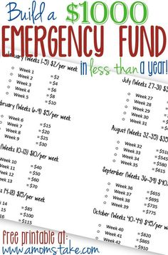 Build a $1000 Emergency Fund in (less than) a year! Savings, personal finance resources, personal finance tips #PFMoney, Finances