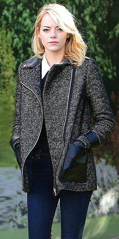 emma stone - tweed / leather coat