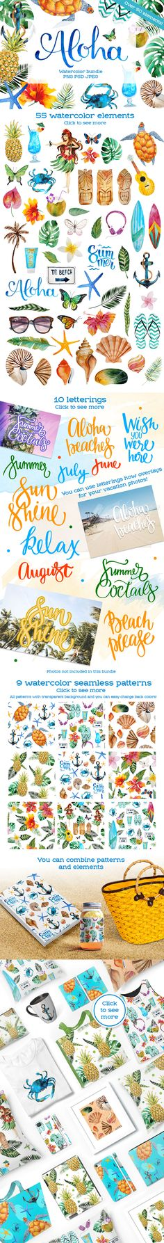 Aloha Watercolor Elements - Part of The Neverending Bundle of Superior Quality Designs