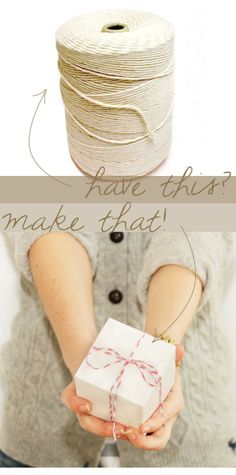 2 easy steps to make decorative baker's twine for gift wrapping.