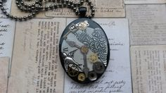steampunk clock resin necklace  £13.00