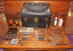 100+ Lot Atq. Embalming Tools ~Funeral Home~ Morgue Injectors Bottles Doctor Bag