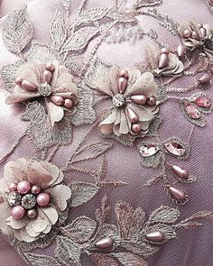 Tambour Beading, Tambour Embroidery, Couture Embroidery, Silk Ribbon Embroidery, Embroidery Fashion, Embroidery Jewelry, Embroidery Patches, Lace Applique, Hand Embroidery