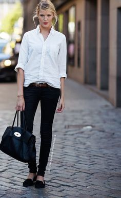 White shirt, black skinny jeans, and loafers = stylish outfit. Fashion Moda, Work Fashion, Womens Fashion, College Fashion, Petite Fashion, Fashion 2015, Fashion Black, Curvy Fashion, Street Fashion