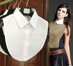 2014 nova moda collar falso blusa branca e preta golas destacáveis