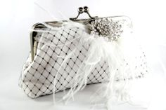 White Bridal Clutch with Rhinestone and Ostrich Feathers by ANGEEW, $70.00