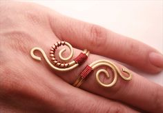 Wire+Wrapped+Brass+and+Copper+Adjustable+Ring++by+GearsFactory,+€12.00
