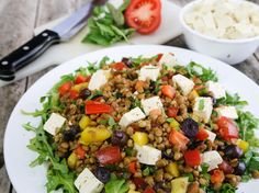"This hearty, Greek-inspired cold dish of lentils, tomatoes, olives, and tofu ""feta"" is great for everyday meals or to serve on special occasions."