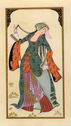 """Dancer Woman"" by esraart on deviantART Medieval, Turkish Art, Korean Art, Arabian Nights, Ottoman Empire, Old Paper, Islamic Art, Traditional Art, Historical Costume"