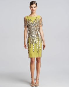Sequined Shortsleeve Cocktail Dress Lime