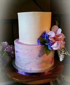 Water color buttercream wedding cake