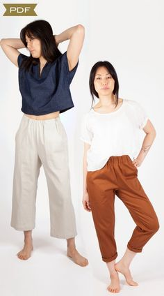 Free-Range Slacks (pdf pattern) – Sew House Seven - do I really like these? I think the elastic waistband in the front is bugging me Sewing Blogs, Sewing Patterns Free, Clothing Patterns, Sewing Ideas, Sewing Projects, Paper Patterns, Free Sewing, Shirt Patterns, Baby Sewing
