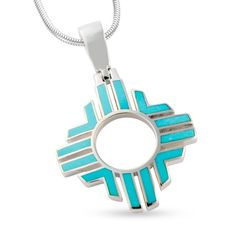 Sterling Silver Zia Sun with American Sleeping Beauty Turquoise