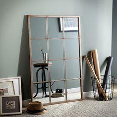Miroir fenêtre rectangulaire 12 carreaux en métal gris/rouille 80x120cm BENGKEL Akhal port offert