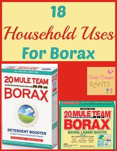 18 Everyday Uses For 20 Mule Team Borax! Have you ever used 20 Mule Team Borax? I used it when my oldest was a baby. I used it in her cloth diaper pail, yeah, I tried the whole cloth diaper thing… with the first one! The other three wore… Household Cleaning Tips, Cleaning Recipes, House Cleaning Tips, Diy Cleaning Products, Cleaning Solutions, Cleaning Hacks, Household Cleaners, Borax Cleaning, Homemade Products