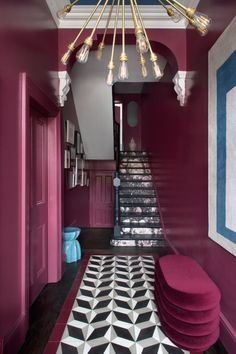 Staircase to the second floor. Two rooms to the left of the stairs - dining room and living room. Carpet, TC Matthews. Victorian Townhouse, Victorian Homes, Victorian Hallway, Interior Architecture, Interior Design, Design Interiors, Colorful Interiors, Sputnik Chandelier, Houses