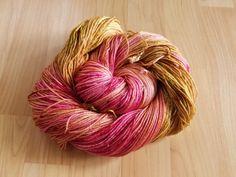 Handpainted hand dyed yarn superwash merino by WhiteWhiskerStudios