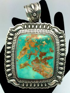 Gorgeous Royston Turquoise : an awesome turquoise ! like a painting !! Pendant by Navajo Artisan Darryl Becenti