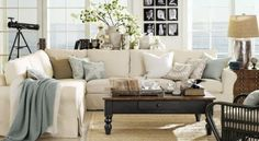 Coastal Living Room home-decor-inspiration, couch, throw, tablescapes behind couch
